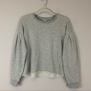American Eagle Cropped Raw Hem Grey Sweatshirt
